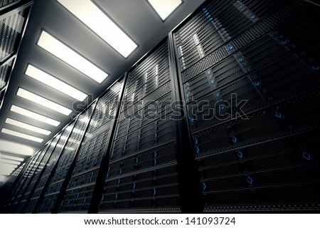 Image presents a bottom view of a room equipped with data servers. Blue LED lights are flashing.