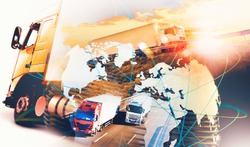Image related to logistic and transport of goods.Abstract design background Trucks and lorry transport.Highway and delivering.World map and international freight