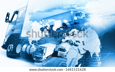 Image related to logistic and transport of goods.Abstract design background Trucks and lorry transport.Highway and delivering.World map and international freight ストックフォト ©