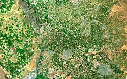 Image satellite of the presence crops and andcities. of Brawley, California, EUA. Observation of the surface of the earth from the sky. Generated and modified from satellite images.