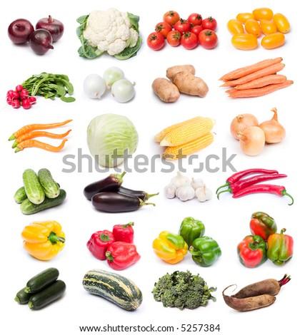 image set of fresh ripe vegetables on white background