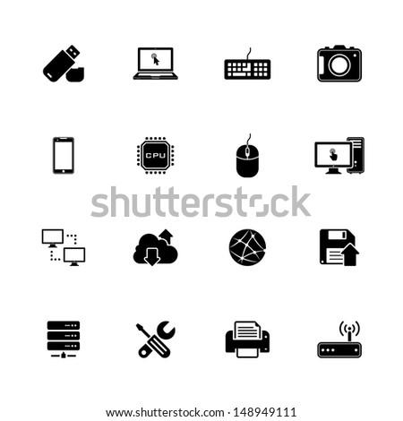 Image set of 16 technology icons