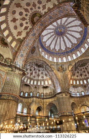 Image shot inside the grand Blue Mosque in Istanbul, Turkey