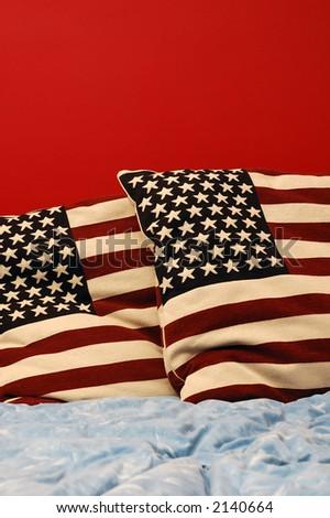 Image showing american patriotism concept in romantic bedroom