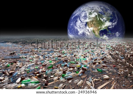 image showing earth sinking in heavy water pollution with tons of plastic containers