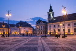 Image showing the Great Square in Sibiu, Romania.