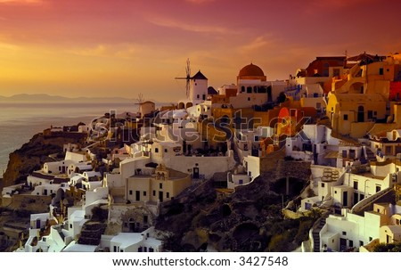 Image shows the village of Oia on the island of Santorini, Greece