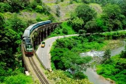 Image taken from Thenmala in Kerala. The Kollam Chenkotta train was completed the last day of the train termination.This picture is just the last thing remaining. The British made beautiful granite br