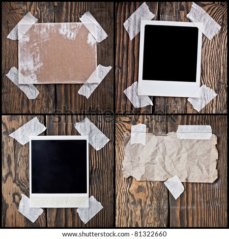 Image, the cardboard, the crumpled paper on a wooden background