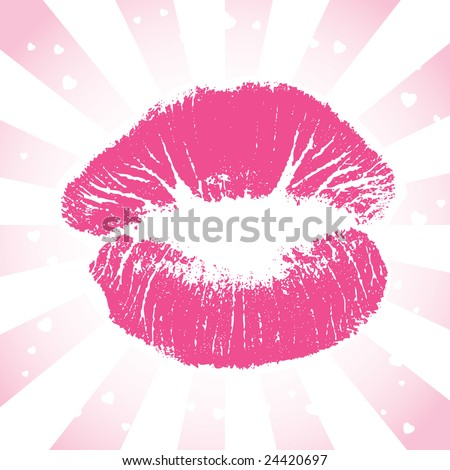 stock photo : Image version of a romantic pink lip print surrounded by white