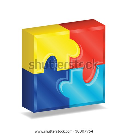 Image version of four brightly colored puzzle pieces arranged in a three-dimensional square, representing autism awareness