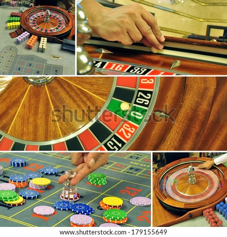 image with a casino roulette table game colage