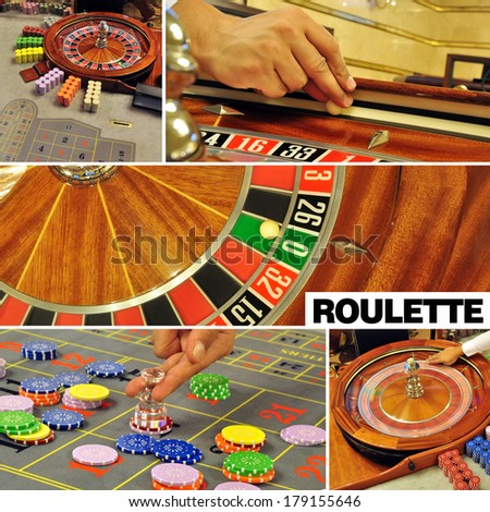 image with a casino roulette table game colage and text - stock photo