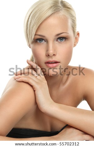 Image with beautiful blonde girl on white background close-up