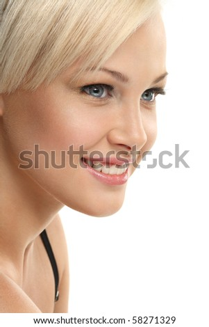 Image with beautiful smiling blonde girl on white background close-up