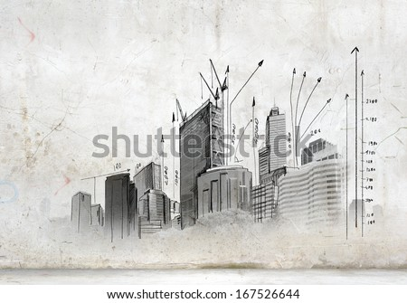 Image with hand drawings of construction project