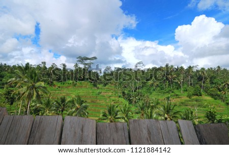 Image wooden table in front of beautiful landscape  #1121884142