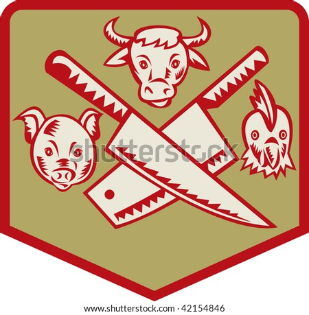 Imagery shows a Cow,pig and chicken with crossed butcher knife set inside a shield