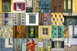 Images and fragments of old traditional symbols of the Portuguese and Spanish art. Doors, windows, locks, walls, patterns. Photos form Spain and Portugal. Porto, Lisbon, Seville, Valencia, Barcelona.