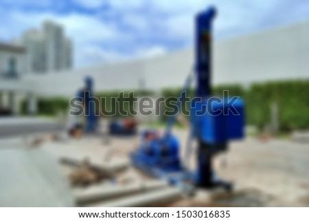 Images blur and out focus of Workers are working on piling bored piles to make foundations.construction concept, blurred concept.