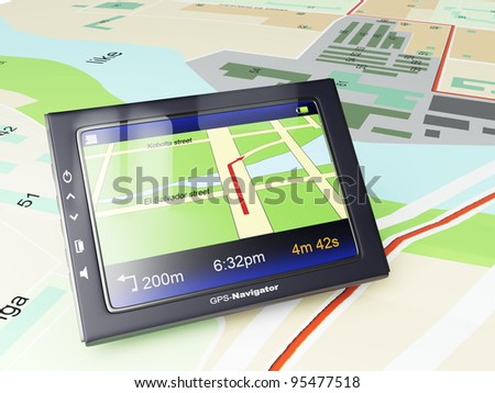 Images 3d: gps-navigator with a card of territory and the specified route of movement