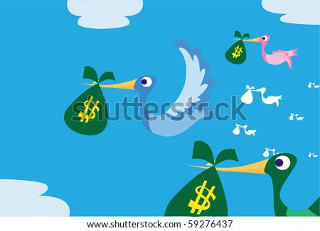Images of birds which are flying and carrying money bag to their nest.
