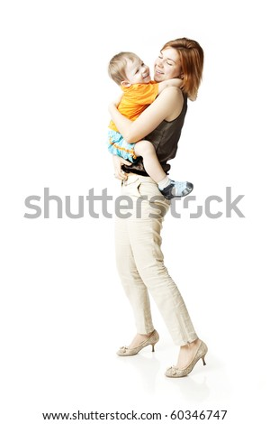 Images of happy mother with a child on a white background