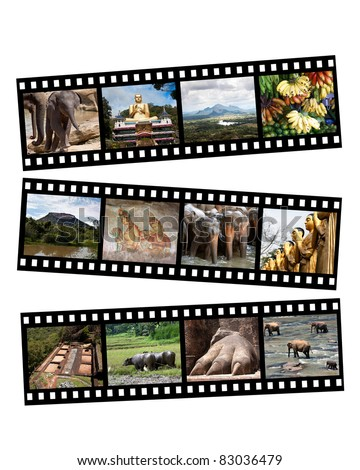 Images of Sri Lanka displayed on black and white film strips, isolated on white.