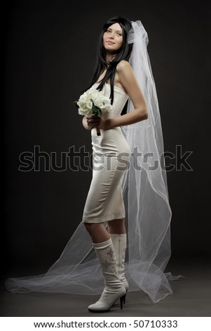 Images of the beautiful bride in the studio