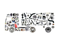 Images truck assembled from new spare parts on white background. Truck with a trailer and with cargo