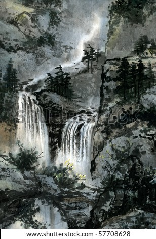 Imaginary landscape depicted in Chinese watercolor