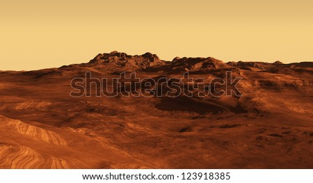 Imaginary Martian landscape illustration, 3d digitally rendered illustration