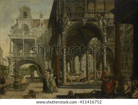Imaginary Renaissance Palace, by Hendrick Aerts, 1602, Flemish painting, oil on canvas. Ornate fantasy architecture with a banquet with musicians and dancers taking place in an open gallery. A man pl