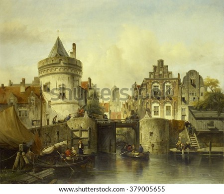 Imaginary View based on the Kolksluis, Amsterdam, by Samuel Verveer, 1839, Dutch oil painting. A rowboat exits the 'kolk' through the open sluice gate, which dates back to the Middle Ages.