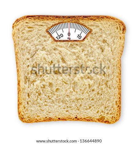 Imaginary Weighing Scales Made Of Bread Slice Isolated On White Background. Diet Concept To Promote Healthy Eating And Weight Management.