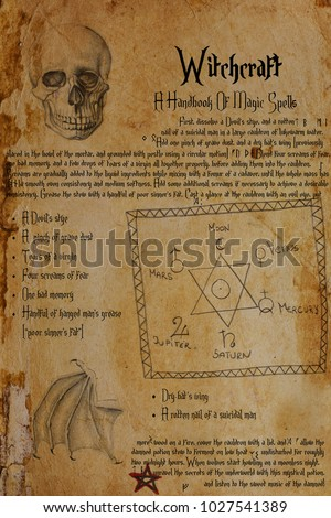 Imaginary witchcraft recipe. Symbols relating to magic, spells, alchemy. Drawings of human skull, bat's wing, the Seal of Solomon, planetary signs, pentagram. Few Elder Futhark and Anglo-Saxon runes. #1027541389