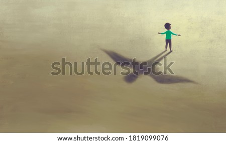 imagination artwork of boy with shadow bird wing, painting art, conceptual illustration,  freedom  ambition life and hope concept,  surreal child dream