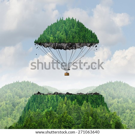 Imagination concept as a person lifting off with a detached top of a mountain floating up to the sky as a hot air balloon metaphor for the power of imagining and dreaming of moving mountains.