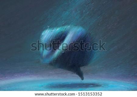 Imagination of sad human in blue landscape, sadness, loneliness, depression, stressed, emotion concept, fantasy art, surreal painting, illustration, bullying, broken heart