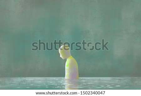 imagination painting lonely man with water reflection of sadness, depression loneliness, emotion concept illustration, fantasy, surreal, mental health