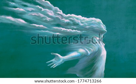imagination surreal art, man with cloud head, spiritual freedom dream happiness and hope concept, dreamlike artwork, fantasy painting illustration
