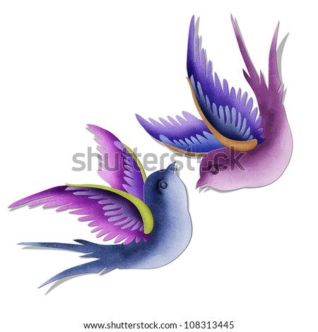 imagination swallows created by paper craft isolated on white background.