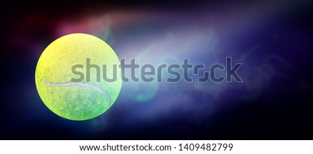 Imagine a tennis ball that has been hit forward with very high speed. And the lightning power is the current around the tennis ball And bright light is a beautiful background image design #1409482799