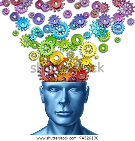 Imagine and invent as human creativity and intelligent brain with a front facing head as rainbow spectrum colored gears and cogs out of the mind as an artistic design thinking in business.