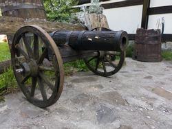 Imitation of an old wooden cannon in the Royal Village Kotromanicevo near Doboj