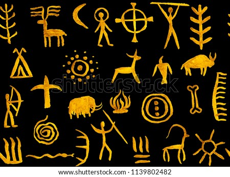573939b1a4bfc Imitation of drawing in a cave painted ocher on black background by an  ancient man on
