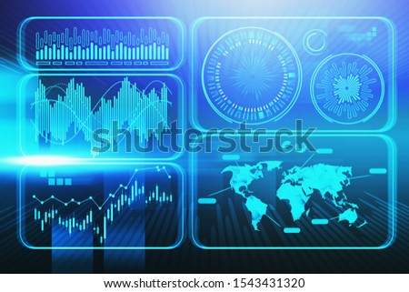 Immersive blue futuristic graphical user HUD interface. Concept of information visualisation, infographics, innovation and big data. 3d rendering toned image ストックフォト ©