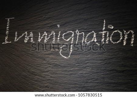 Immigration written on blackboard #1057830515