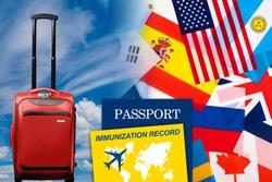 Immunization record in international passport. Concept of introduction of immunization passports for travel around world. Vaccination against coronavirus infection. Vaccinations against covid-19.