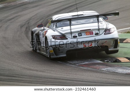 Imola, Italy - October 11, 2014: A Mercedes Sls Amg Gt3 of Sports And You team, driven By Coimbra Antonio (Prt) and Silva Luis (Prt),  the C.I. Gran Turismo car racing on October 11, 2014 in Imola
